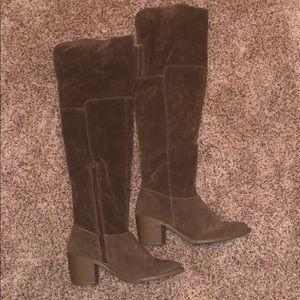Over the knee booties - dark beige / tan suede